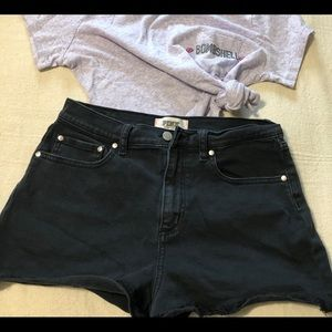 #0102. PINK VS BLACK JEAN SHORTS SIZE 10